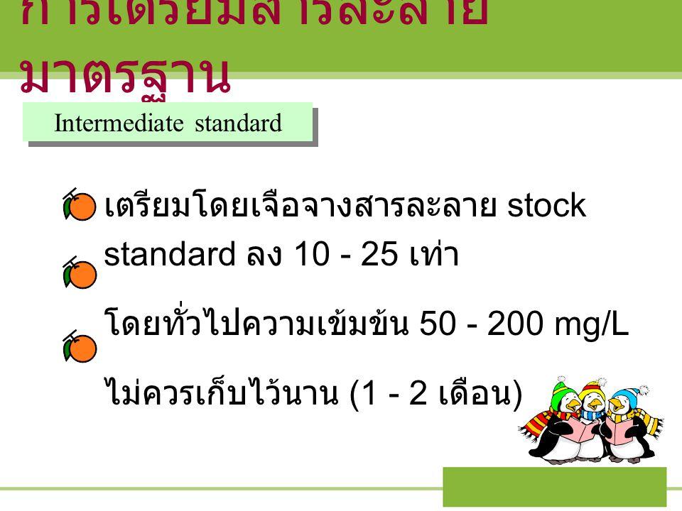 การเตรียมสารละลาย มาตรฐาน Intermediate standard เตรียมโดยเจือจางสารละลาย stock standard ลง 10 - 25 เท่า โดยทั่วไปความเข้มข้น 50 - 200 mg/L ไม่ควรเก็บไ