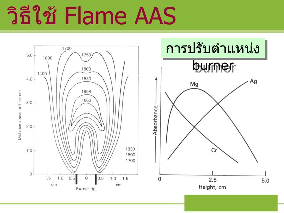 การปรับตำแหน่ง burner วิธีใช้ Flame AAS