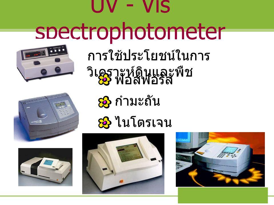 UV - Vis spectrophotometer การใช้ประโยชน์ในการ วิเคราะห์ดินและพืช ฟอสฟอรัส กำมะถัน ไนโตรเจน
