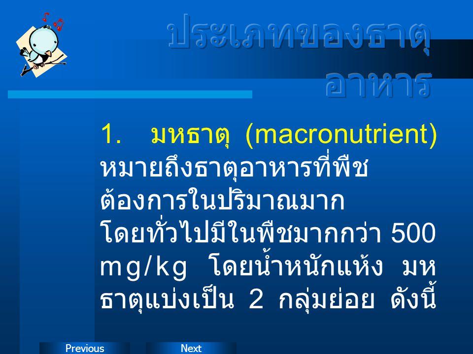 NextPrevious 1. มหธาตุ (macronutrient) หมายถึงธาตุอาหารที่พืช ต้องการในปริมาณมาก โดยทั่วไปมีในพืชมากกว่า 500 mg/kg โดยน้ำหนักแห้ง มห ธาตุแบ่งเป็น 2 กล