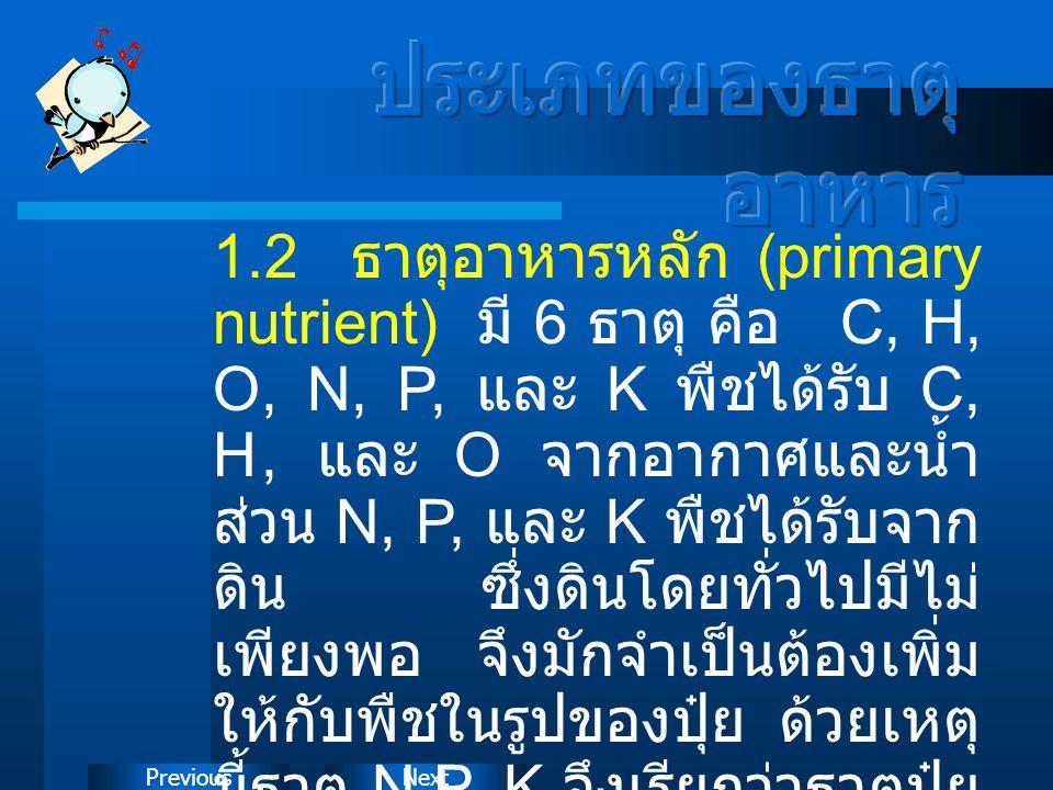 NextPrevious 1.2 ธาตุอาหารหลัก (primary nutrient) มี 6 ธาตุ คือ C, H, O, N, P, และ K พืชได้รับ C, H, และ O จากอากาศและน้ำ ส่วน N, P, และ K พืชได้รับจา