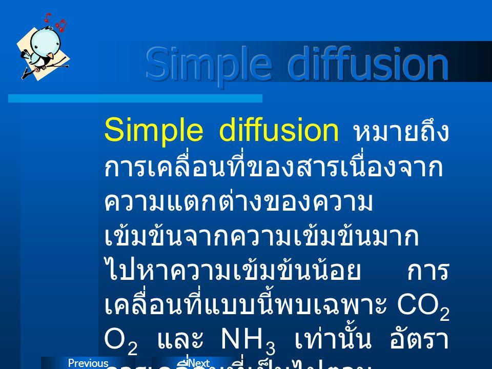 NextPrevious Simple diffusion หมายถึง การเคลื่อนที่ของสารเนื่องจาก ความแตกต่างของความ เข้มข้นจากความเข้มข้นมาก ไปหาความเข้มข้นน้อย การ เคลื่อนที่แบบนี