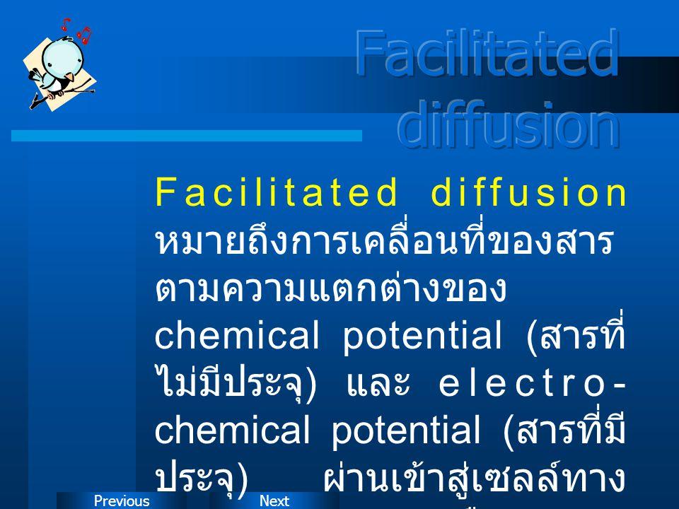 NextPrevious Facilitated diffusion หมายถึงการเคลื่อนที่ของสาร ตามความแตกต่างของ chemical potential ( สารที่ ไม่มีประจุ ) และ electro- chemical potenti