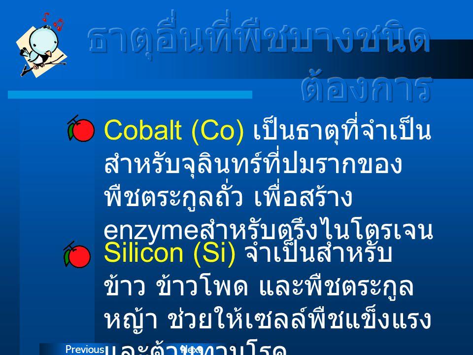 NextPrevious Cobalt (Co) เป็นธาตุที่จำเป็น สำหรับจุลินทร์ที่ปมรากของ พืชตระกูลถั่ว เพื่อสร้าง enzyme สำหรับตรึงไนโตรเจน Silicon (Si) จำเป็นสำหรับ ข้าว