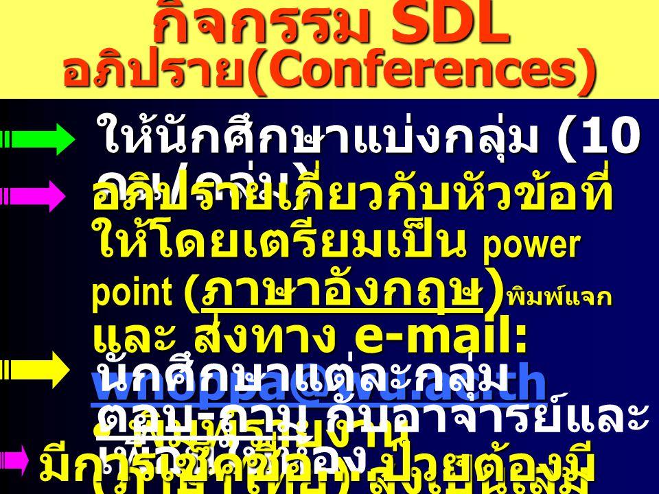 ให้นักศึกษาแบ่งกลุ่ม (10 คน / กลุ่ม ) กิจกรรม SDL อภิปราย (Conferences) อภิปรายเกี่ยวกับหัวข้อที่ ให้โดยเตรียมเป็น power point ( ภาษาอังกฤษ ) พิมพ์แจก