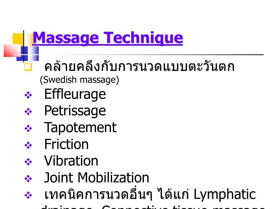 Effleurage (Stroke)  Superficial stroke และ Deep stroke