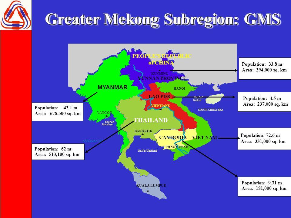 Greater Mekong Subregion: GMS THAILAND LAO PDR MYANMAR VIET NAM PEOPLE S REPUBLIC of CHINA KUALA LUMPUR Gulf of Thailand BANGKOK ANDAMAN SEA SOUTH CHINA SEA Gulf of Tonkin VIENTIANE HANOI YANGON Gulf of Matarban YUNNAN PROVINCE KUNMING PHNOM PENH Population: 33.8 m Area: 394,000 sq.