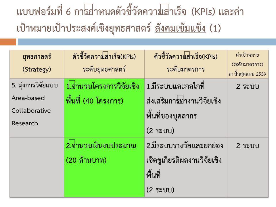 แบบฟอร์มที่ 6 การกำหนดตัวชี้วัดความสำเร็จ (KPIs) และค่า เป้าหมายเป้าประสงค์เชิงยุทธศาสตร์ สังคมเข้มแข็ง (1)