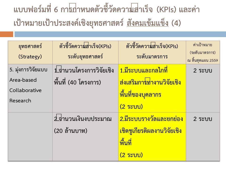แบบฟอร์มที่ 6 การกำหนดตัวชี้วัดความสำเร็จ (KPIs) และค่า เป้าหมายเป้าประสงค์เชิงยุทธศาสตร์ สังคมเข้มแข็ง (4)