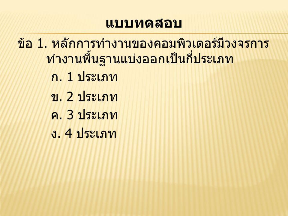 แบบทดสอบ ข้อ 1. หลักการทำงานของคอมพิวเตอร์มีวงจรการ ทำงานพื้นฐานแบ่งออกเป็นกี่ประเภท ก. 1 ประเภท ข. 2 ประเภท ค. 3 ประเภท ง. 4 ประเภท