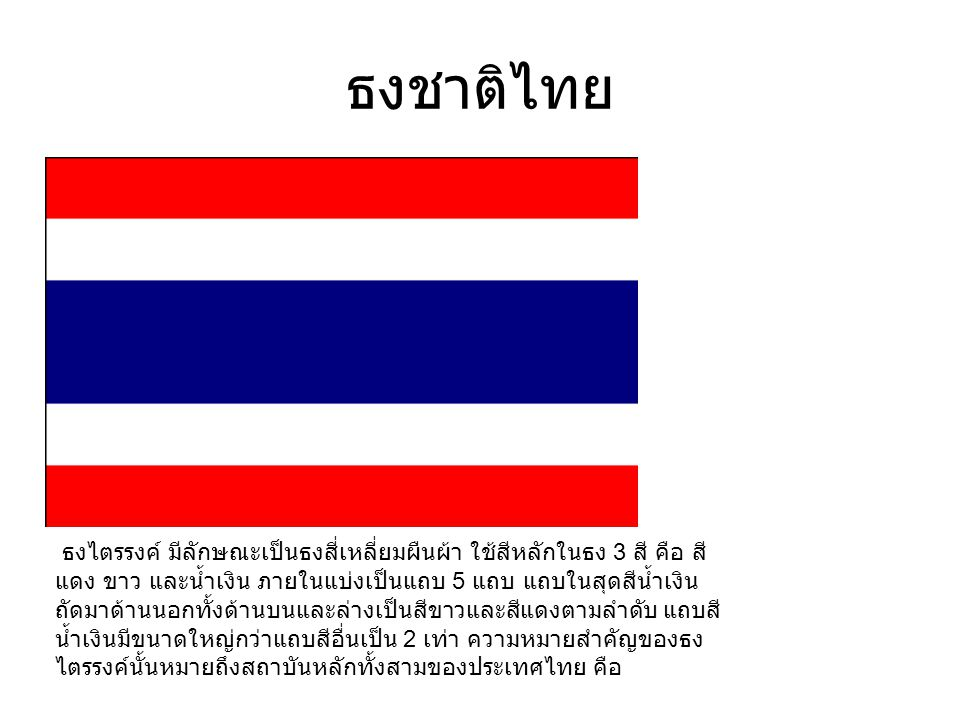 ธงชาติไทย ธงไตรรงค์ มีลักษณะเป็นธงสี่เหลี่ยมผืนผ้า ใช้สีหลักในธง 3 สี คือ สี แดง ขาว และน้ำเงิน ภายในแบ่งเป็นแถบ 5 แถบ แถบในสุดสีน้ำเงิน ถัดมาด้านนอกทั้งด้านบนและล่างเป็นสีขาวและสีแดงตามลำดับ แถบสี น้ำเงินมีขนาดใหญ่กว่าแถบสีอื่นเป็น 2 เท่า ความหมายสำคัญของธง ไตรรงค์นั้นหมายถึงสถาบันหลักทั้งสามของประเทศไทย คือ