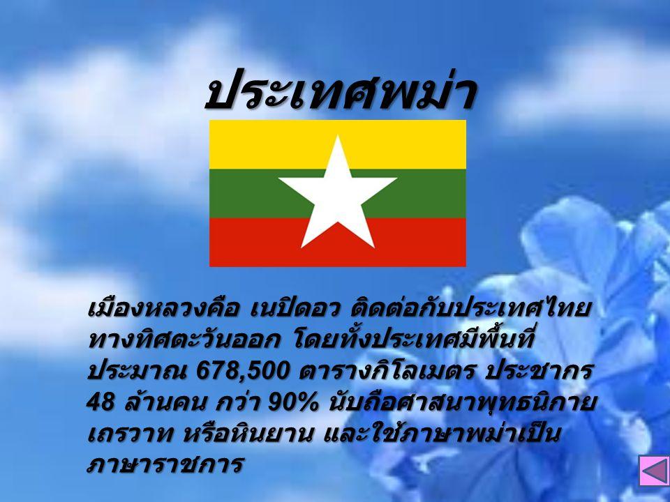 ประเทศพม่า เมืองหลวงคือ เนปิดอว ติดต่อกับประเทศไทย ทางทิศตะวันออก โดยทั้งประเทศมีพื้นที่ ประมาณ 678,500 ตารางกิโลเมตร ประชากร 48 ล้านคน กว่า 90% นับถือศาสนาพุทธนิกาย เถรวาท หรือหินยาน และใช้ภาษาพม่าเป็น ภาษาราชการ เมืองหลวงคือ เนปิดอว ติดต่อกับประเทศไทย ทางทิศตะวันออก โดยทั้งประเทศมีพื้นที่ ประมาณ 678,500 ตารางกิโลเมตร ประชากร 48 ล้านคน กว่า 90% นับถือศาสนาพุทธนิกาย เถรวาท หรือหินยาน และใช้ภาษาพม่าเป็น ภาษาราชการ