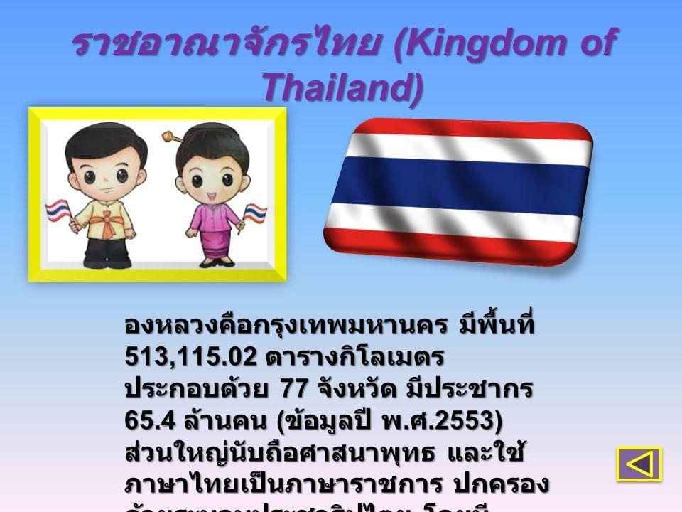 ราชอาณาจักรไทย (Kingdom of Thailand) องหลวงคือกรุงเทพมหานคร มีพื้นที่ 513,115.02 ตารางกิโลเมตร ประกอบด้วย 77 จังหวัด มีประชากร 65.4 ล้านคน ( ข้อมูลปี