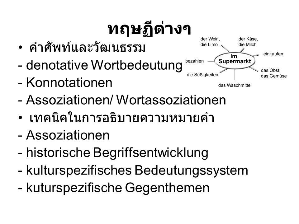 ทฤษฏีต่างๆ คำศัพท์และวัฒนธรรม - denotative Wortbedeutung - Konnotationen - Assoziationen/ Wortassoziationen เทคนิคในการอธิบายความหมายคำ - Assoziatione