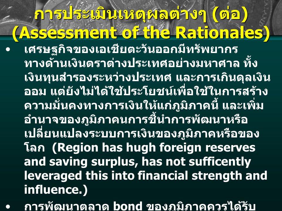 การประเมินเหตุผลต่างๆ ( ต่อ ) (Assessment of the Rationales) เศรษฐกิจของเอเชียตะวันออกมีทรัพยากร ทางด้านเงินตราต่างประเทศอย่างมหาศาล ทั้ง เงินทุนสำรองระหว่างประเทศ และการเกินดุลเงิน ออม แต่ยังไม่ได้ใช้ประโยชน์เพื่อใช้ในการสร้าง ความมั่นคงทางการเงินให้แก่ภูมิภาคนี้ และเพิ่ม อำนาจของภูมิภาคนการชี้นำการพัฒนาหรือ เปลี่ยนแปลงระบบการเงินของภูมิภาคหรือของ โลก (Region has hugh foreign reserves and saving surplus, has not sufficently leveraged this into financial strength and influence.) การพัฒนาตลาด bond ของภูมิภาคควรได้รับ การส่งเสริมในระดับต้นๆ (Development of East Asian Bond market should be given high priority.) จะทำให้พึ่งตลาดเงินนอกภูมิภาคน้อยละ และ กำหนดกฎเกณฑ์ของตลาดในภูมิภาคได้เองมาก ขึ้น (Less reliance on outside financial markets, and has greater influence in shaping codes and standards for regional markets.)