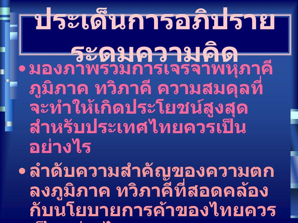 ประเด็นการอภิปราย ระดมความคิด มองภาพรวมการเจรจาพหุภาคี ภูมิภาค ทวิภาคี ความสมดุลที่ จะทำให้เกิดประโยชน์สูงสุด สำหรับประเทศไทยควรเป็น อย่างไร ลำดับความ