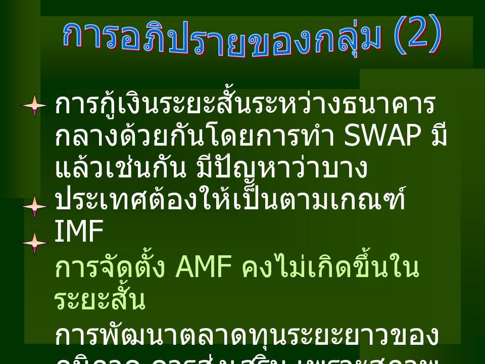 การกู้เงินระยะสั้นระหว่างธนาคาร กลางด้วยกันโดยการทำ SWAP มี แล้วเช่นกัน มีปัญหาว่าบาง ประเทศต้องให้เป็นตามเกณฑ์ IMF การจัดตั้ง AMF คงไม่เกิดขึ้นใน ระยะสั้น การพัฒนาตลาดทุนระยะยาวของ ภูมิภาค ควรส่งเสริม เพราะสภาพ คล่องในภูมิภาคมีมาก ลดการ พึ่งพิงตลาด NY, London