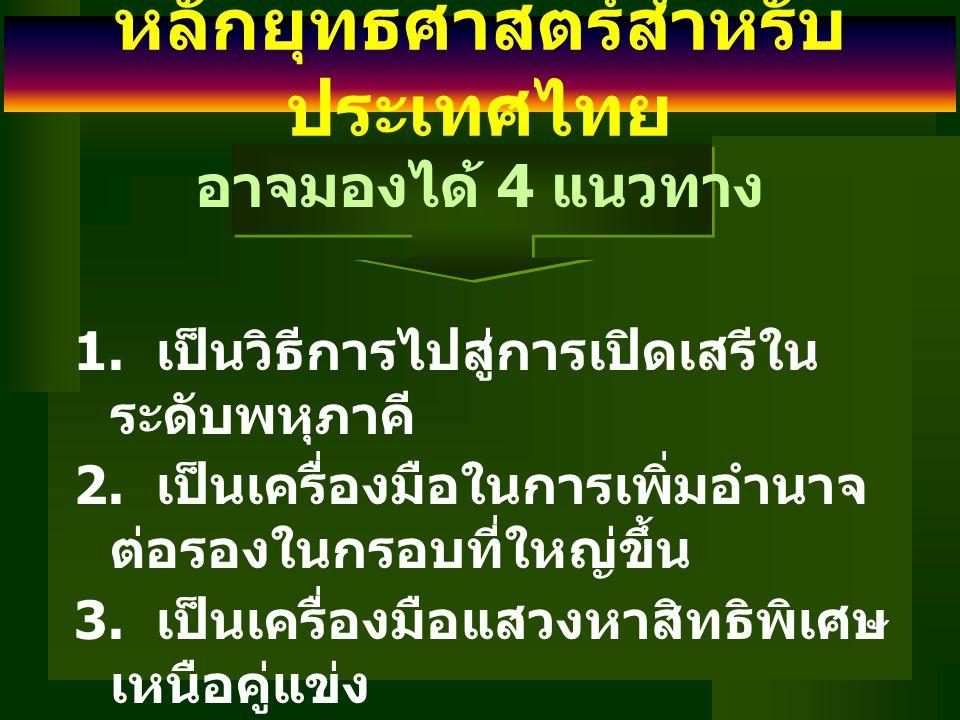 หลักยุทธศาสตร์สำหรับ ประเทศไทย (2) เน้นการเจรจากับประเทศเศรษฐกิจใหญ่ และหลากหลาย ลดความซ้ำซ้อนของการเจรจา เพื่อ เป็นการลดต้นทุน อาจทำได้โดย 1.