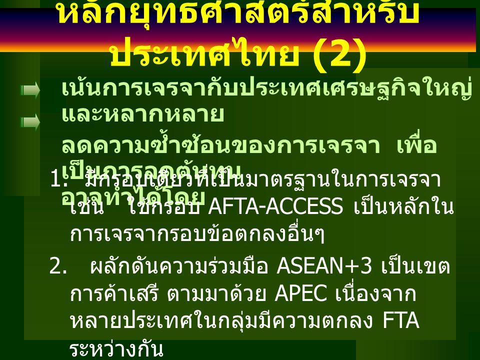 หลักยุทธศาสตร์สำหรับ ประเทศไทย (2) เน้นการเจรจากับประเทศเศรษฐกิจใหญ่ และหลากหลาย ลดความซ้ำซ้อนของการเจรจา เพื่อ เป็นการลดต้นทุน อาจทำได้โดย 1. มีกรอบเ