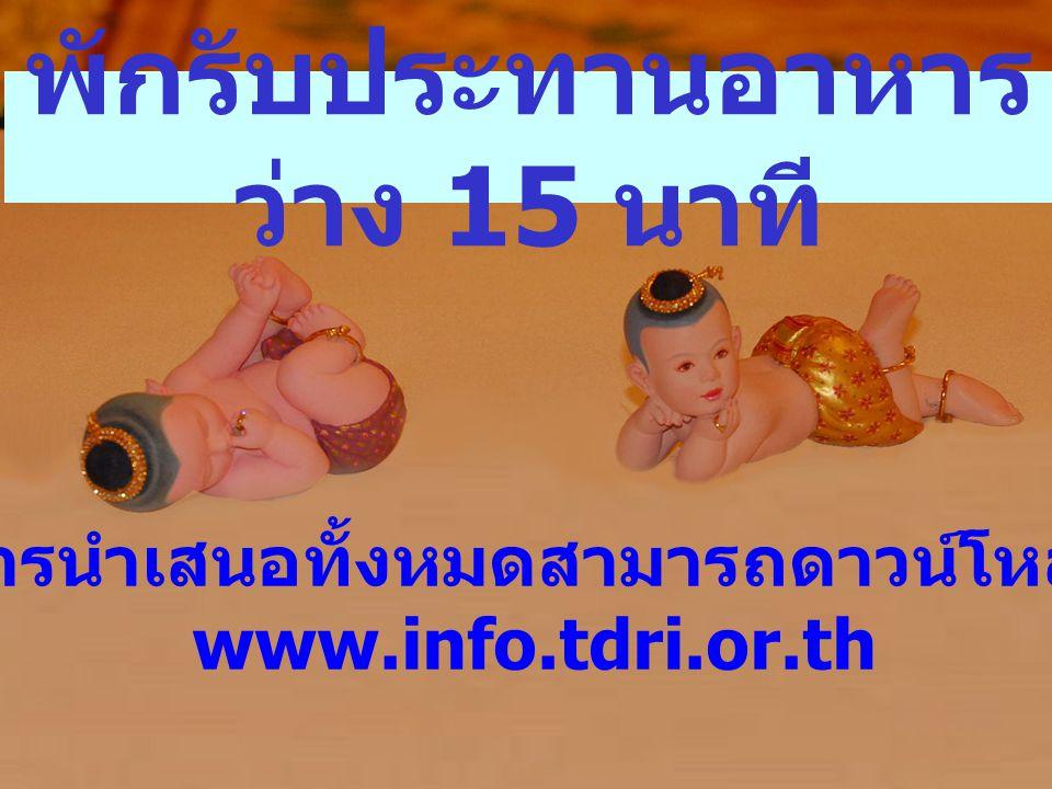 การสรุปผลการวิจัย ประกอบการสัมมนา โดย คณะนักวิจัยสถาบันวิจัยเพื่อ การพัฒนาประเทศไทย
