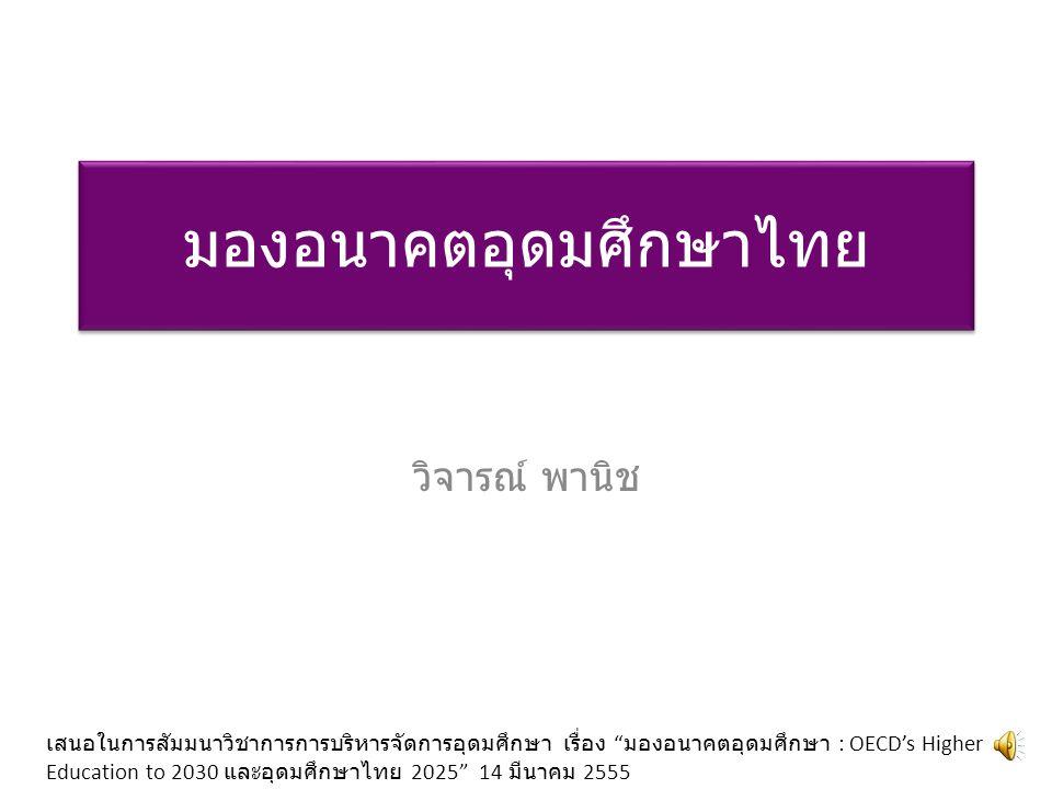 มองอนาคตอุดมศึกษาไทย วิจารณ์ พานิช เสนอในการสัมมนาวิชาการการบริหารจัดการอุดมศึกษา เรื่อง มองอนาคตอุดมศึกษา : OECD's Higher Education to 2030 และอุดมศึกษาไทย 2025 14 มีนาคม 2555
