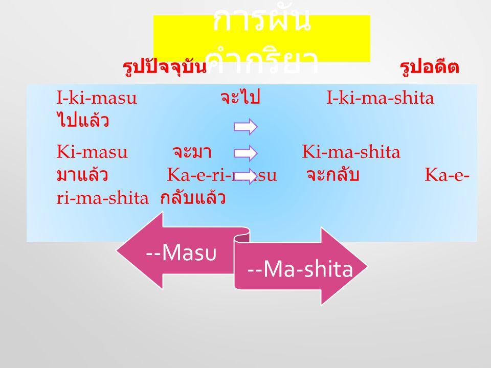 การผัน คำกริยา รูปปัจจุบัน รูปอดีต I-ki-masu จะไป I-ki-ma-shita ไปแล้ว Ki-masu จะมา Ki-ma-shita มาแล้ว Ka-e-ri-masu จะกลับ Ka-e- ri-ma-shita กลับแล้ว