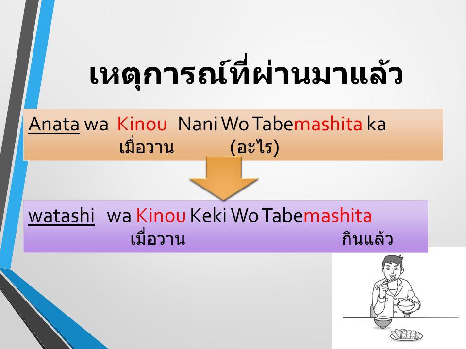 เหตุการณ์ที่ผ่านมาแล้ว Anata wa Kinou Nani Wo Tabemashita ka เมื่อวาน ( อะไร ) watashi wa Kinou Keki Wo Tabemashita เมื่อวาน กินแล้ว