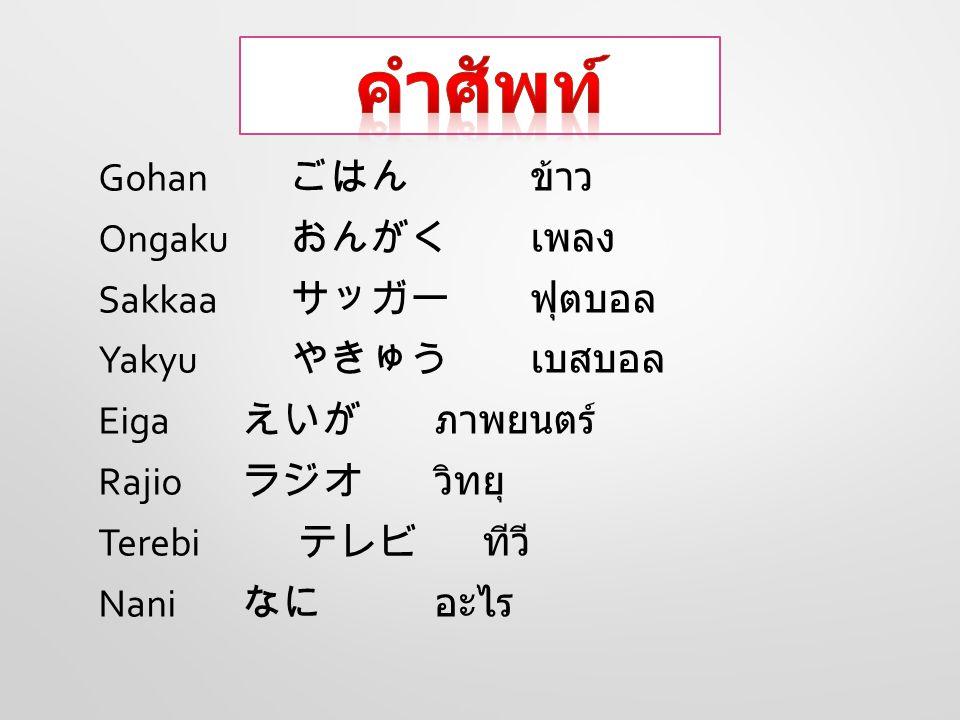 Ka-ki-masu Ta-be-masu No-mi-masu Anata wa ( วันเวลา ) nani Wo Mi-masu ka.