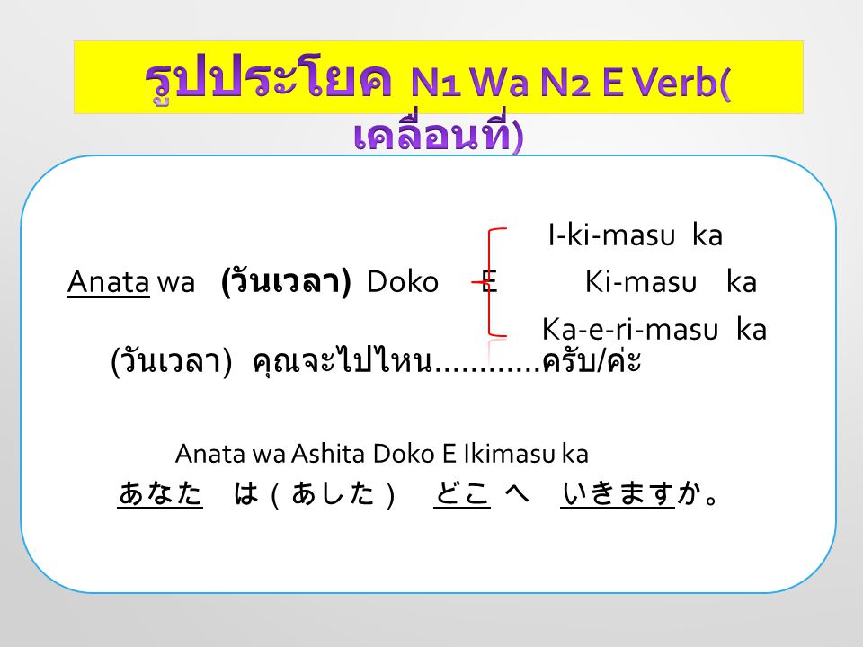 I-ki-masu Watashi wa ( วันเวลา ) …( สถานที่ )..