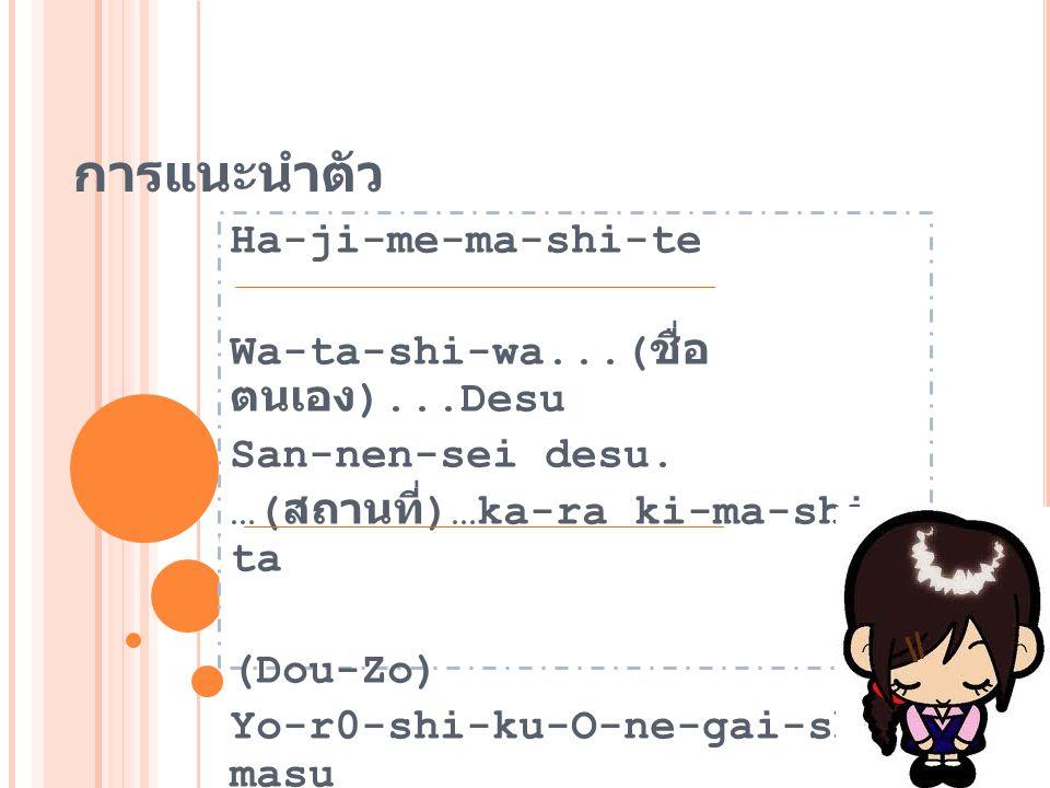 การแนะนำตัว Ha-ji-me-ma-shi-te Wa-ta-shi-wa...( ชื่อ ตนเอง )...Desu San-nen-sei desu. …( สถานที่ )…ka-ra ki-ma-shi- ta (Dou-Zo) Yo-r0-shi-ku-O-ne-gai-