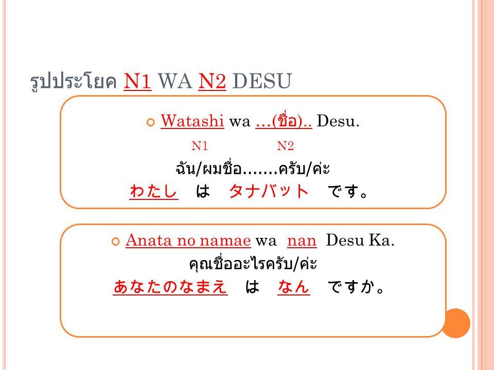 รูปประโยค N1 WA N2 DESU Watashi wa …( ชื่อ ).. Desu. N1 N2 ฉัน / ผมชื่อ....... ครับ / ค่ะ わたし は タナバット です。 Anata no namae wa nan Desu Ka. คุณชื่ออะไรคร