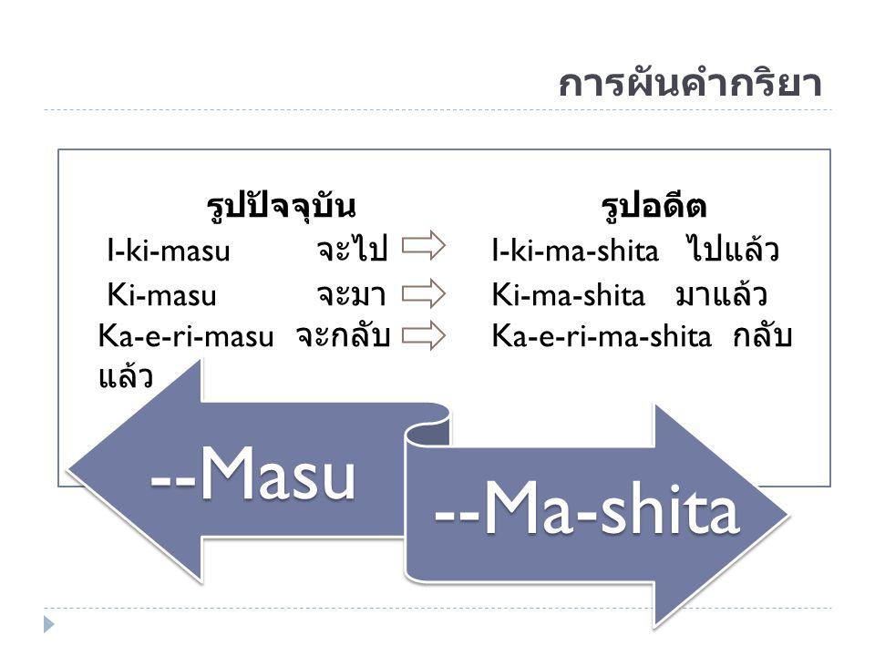 การผันคำกริยา รูปปัจจุบัน รูปอดีต I-ki-masu จะไป I-ki-ma-shita ไปแล้ว Ki-masu จะมา Ki-ma-shita มาแล้ว Ka-e-ri-masu จะกลับ Ka-e-ri-ma-shita กลับ แล้ว -