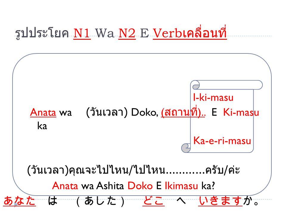 รูปประโยค N1 Wa N2 E Verb เคลื่อนที่ I-ki-masu Anata wa ( วันเวลา ) Doko, ( สถานที่ ).. E Ki-masu ka Ka-e-ri-masu ( วันเวลา ) คุณจะไปไหน / ไปไหน......