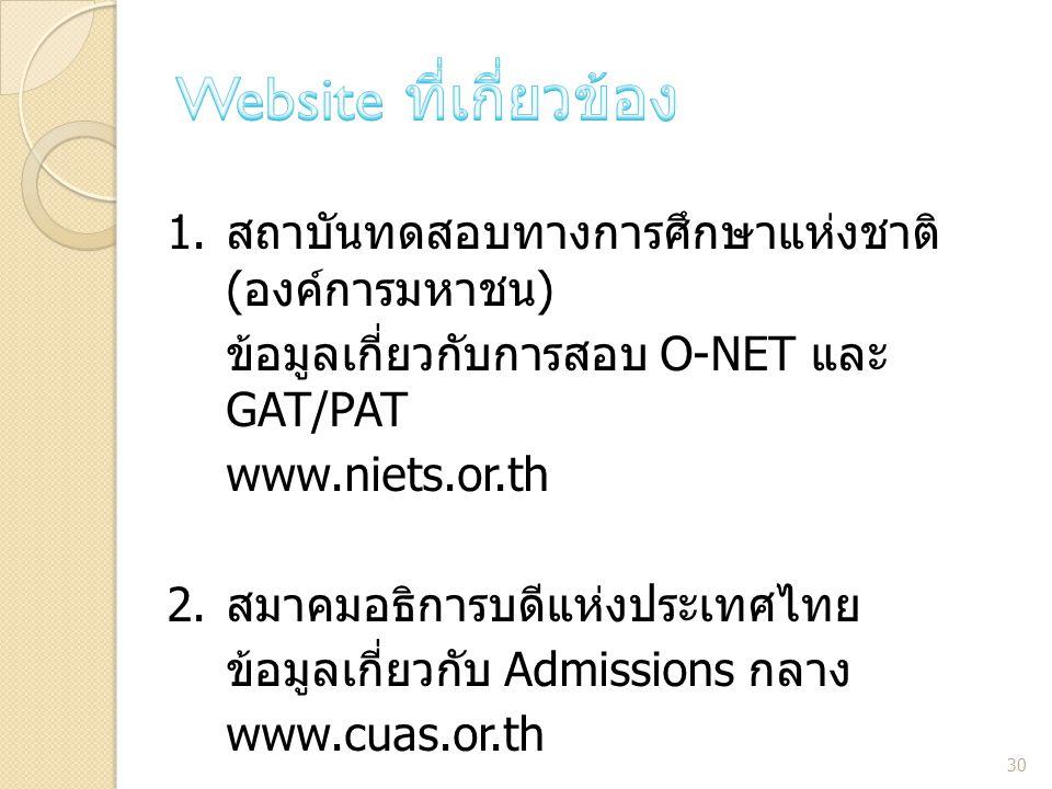 1. สถาบันทดสอบทางการศึกษาแห่งชาติ ( องค์การมหาชน ) ข้อมูลเกี่ยวกับการสอบ O-NET และ GAT/PAT www.niets.or.th 2. สมาคมอธิการบดีแห่งประเทศไทย ข้อมูลเกี่ยว