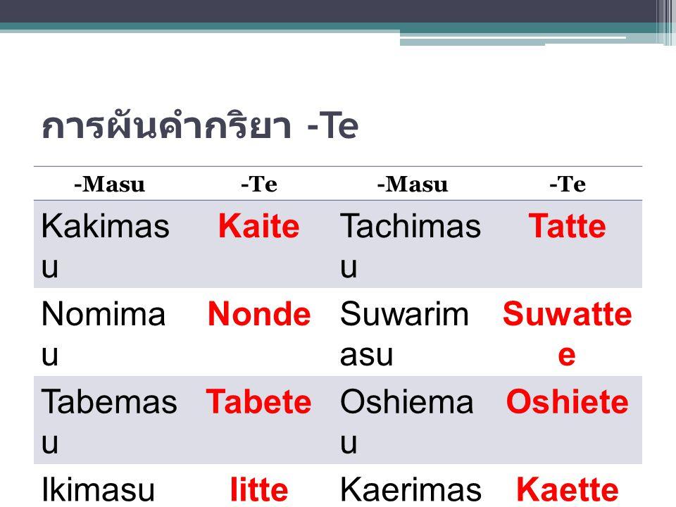 การผันคำกริยา -Te -Masu-Te-Masu-Te ShimasuShit e IimasuIitte KarimasuKarit e TorimasuTotte KaimasuKatt e KikimasuKiite Yomimas u Yon de Benkyoush imasu Benkyo ushite MimasuMite
