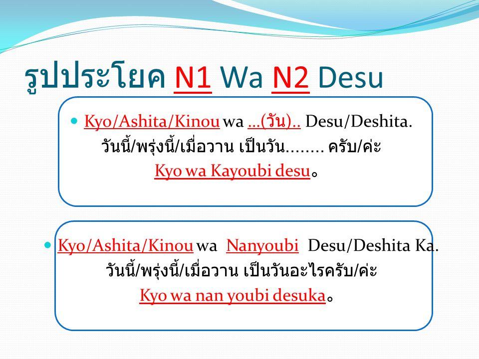 รูปประโยค N1 Wa N2 Desu Kyo/Ashita/Kinou wa …( วัน ).. Desu/Deshita. วันนี้ / พรุ่งนี้ / เมื่อวาน เป็นวัน........ ครับ / ค่ะ Kyo wa Kayoubi desu 。 Kyo