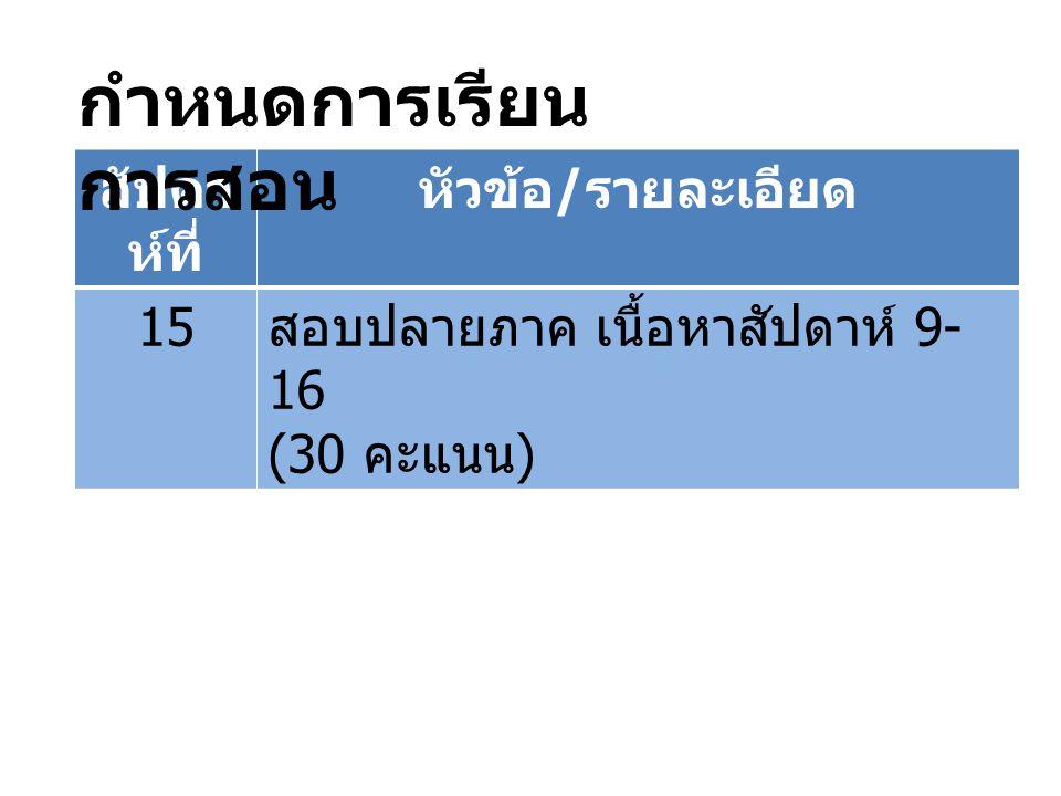สัปดา ห์ที่ หัวข้อ / รายละเอียด 15 สอบปลายภาค เนื้อหาสัปดาห์ 9- 16 (30 คะแนน ) กำหนดการเรียน การสอน