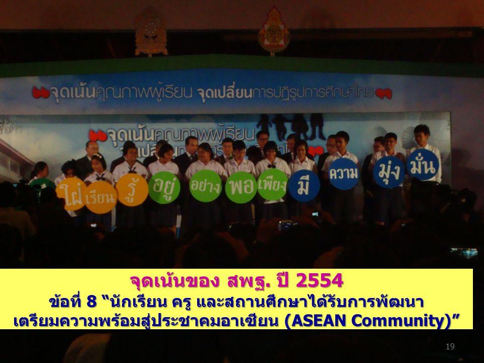"""จุดเน้นของ สพฐ. ปี 2554 ข้อที่ 8 """"นักเรียน ครู และสถานศึกษาได้รับการพัฒนา เตรียมความพร้อมสู่ประชาคมอาเซียน (ASEAN Community)"""" 19"""