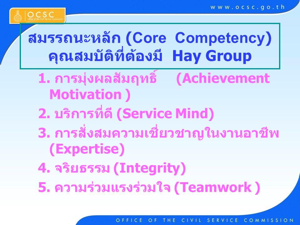 สมรรถนะหลัก (Core Competency) คุณสมบัติที่ต้องมี Hay Group 1. การมุ่งผลสัมฤทธิ์ (Achievement Motivation ) 2. บริการที่ดี (Service Mind) 3. การสั่งสมคว