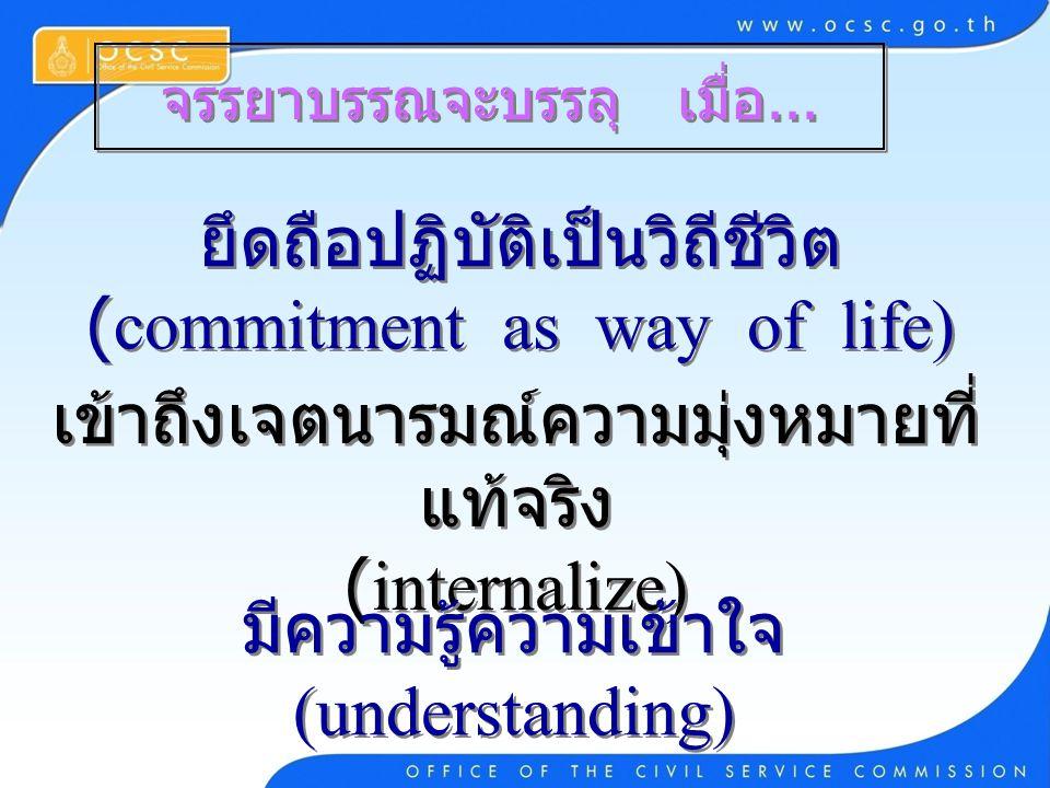 จรรยาบรรณจะบรรลุ เมื่อ... ยึดถือปฏิบัติเป็นวิถีชีวิต (commitment as way of life) เข้าถึงเจตนารมณ์ความมุ่งหมายที่ แท้จริง (internalize) มีความรู้ความเข