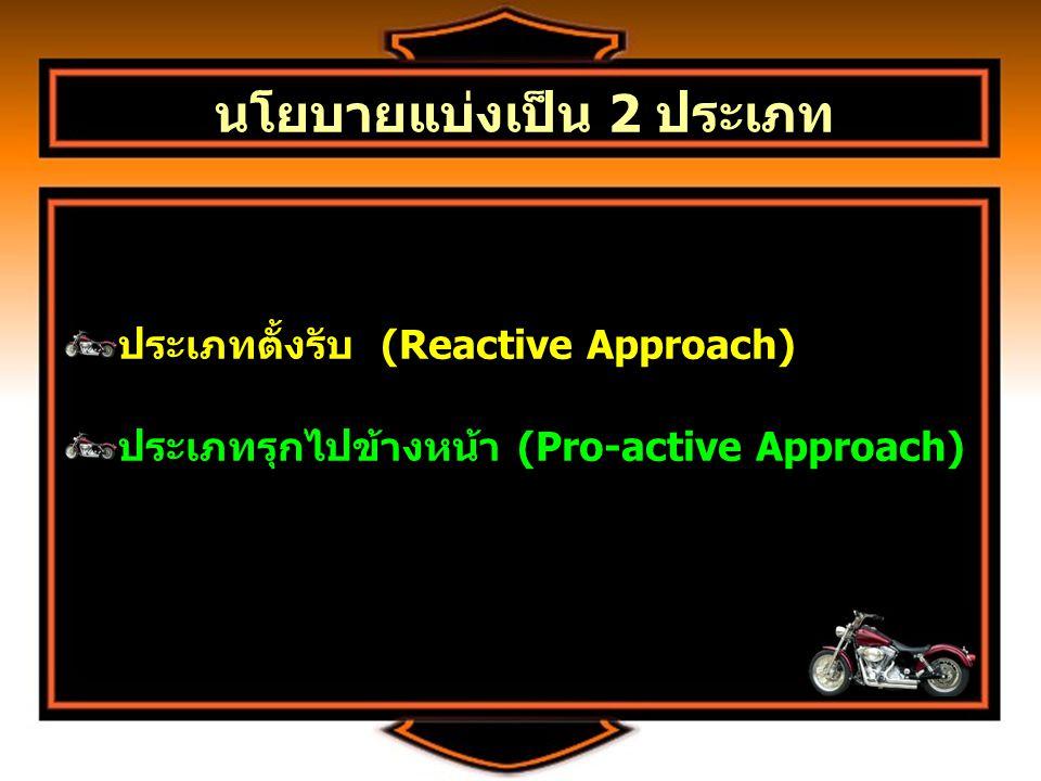 นโยบายแบ่งเป็น 2 ประเภท ประเภทตั้งรับ (Reactive Approach) ประเภทรุกไปข้างหน้า (Pro-active Approach) ประเภทตั้งรับ (Reactive Approach) ประเภทรุกไปข้างหน้า (Pro-active Approach)