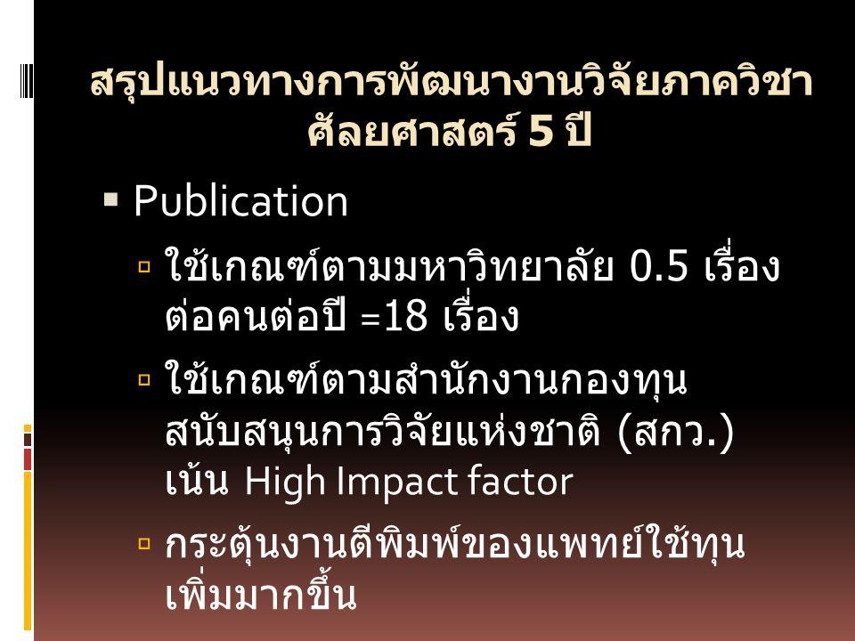 สรุปแนวทางการพัฒนางานวิจัยภาควิชา ศัลยศาสตร์ 5 ปี  Publication  ใช้เกณฑ์ตามมหาวิทยาลัย 0.5 เรื่อง ต่อคนต่อปี =18 เรื่อง  ใช้เกณฑ์ตามสำนักงานกองทุน สนับสนุนการวิจัยแห่งชาติ ( สกว.) เน้น High Impact factor  กระตุ้นงานตีพิมพ์ของแพทย์ใช้ทุน เพิ่มมากขึ้น