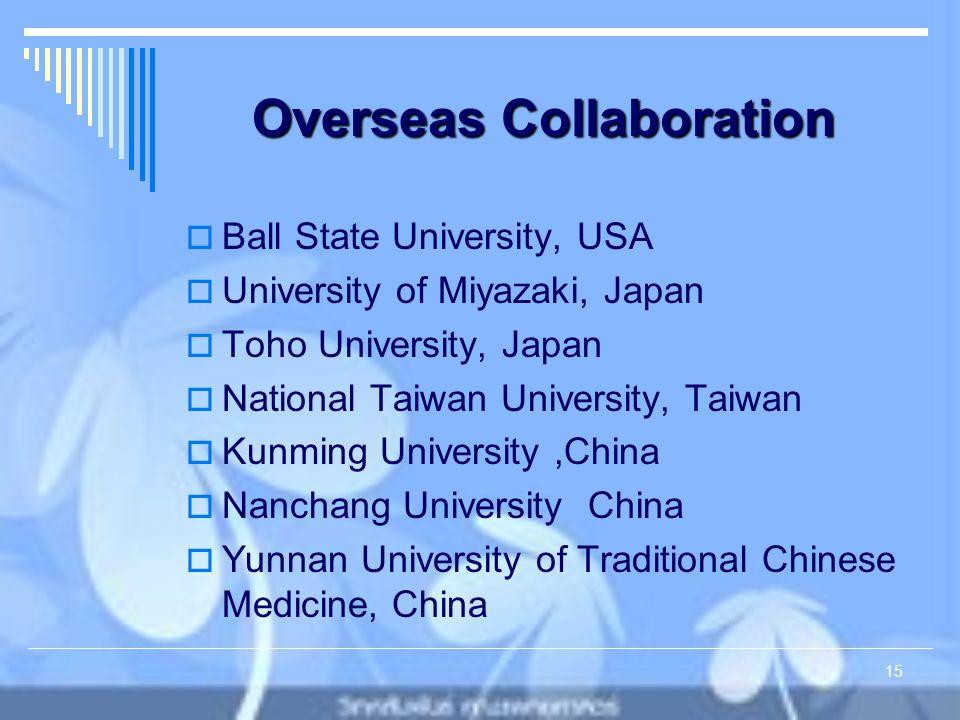 Overseas Collaboration  Ball State University, USA  University of Miyazaki, Japan  Toho University, Japan  National Taiwan University, Taiwan  Kunming University,China  Nanchang University China  Yunnan University of Traditional Chinese Medicine, China 15