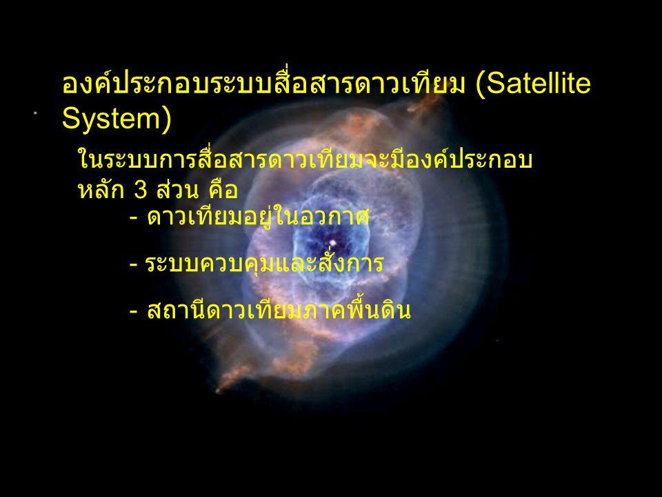 สถานีภาคพื้นดิน ( Earth Station) - จานสายอากาศ (Antenna) ทำหน้าที่ แพร่กระจายคลื่นสัญญาณขาขึ้นไปยังดาวเทียม และทำหน้าที่รับคลื่นสัญญาณขาลงมาเข้า เครื่องรับจานสายอากาศ - ภาคขยายกำลังสูง (High Power Amplifier:HPA) ทำหน้าที่ขยายกำลังให้สูงก่อนส่งกำลัง ออกอากาศ อาจใช้หลอด Klystron, TWT (Travelling Wave Tube) หรือ Solid State เป็นภาคขยายกำลังก็ได้ - ภาคขยายสัญญาณรบกวนต่ำ (Low Noise Amplifier: LNA) ทำหน้าที่ขยายสัญญาณกำลังต่ำ มากๆ ที่เครื่องรับรับได้เพื่อให้มีกำลังพอที่จะ นำมาใช้งาน โดยให้มีสัญญาณรบกวนต่ำที่สุดซึ่ง จะดูคุณสมบัติได้จากค่า Noise Temperature