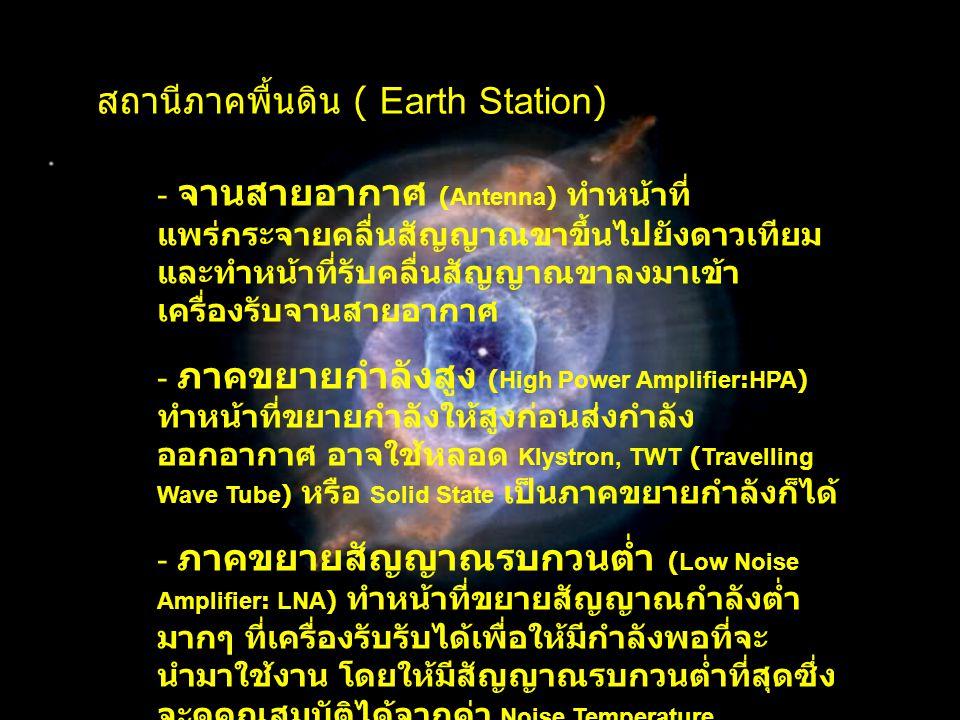 สถานีภาคพื้นดิน ( Earth Station) - จานสายอากาศ (Antenna) ทำหน้าที่ แพร่กระจายคลื่นสัญญาณขาขึ้นไปยังดาวเทียม และทำหน้าที่รับคลื่นสัญญาณขาลงมาเข้า เครื่