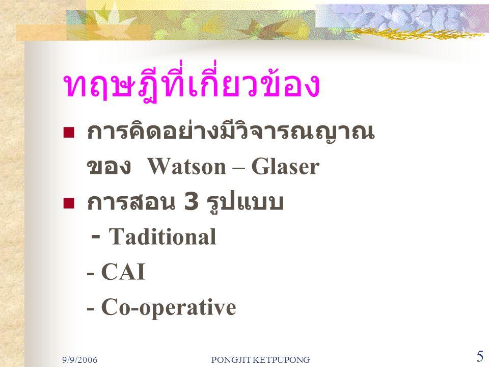 9/9/2006PONGJIT KETPUPONG 6 วิธีดำเนินการวิจัย ประชากรได้แก่ นักศึกษา มหาวิทยาลัยราชภัฏสวนสุนันทา ภาควิชาคณิตศาสตร์ ชั้นปีที่ 1 สุ่มเลือก 120 คน และแบ่งเป็น 3 กลุ่ม (38 40 42) ใช้รูปแบบการสอน 3 รูปแบบ - กลุ่ม 1 Traditional (38 คน ) - กลุ่ม 2 CAI (40 คน ) - กลุ่ม 3 Co-operative (42 คน )