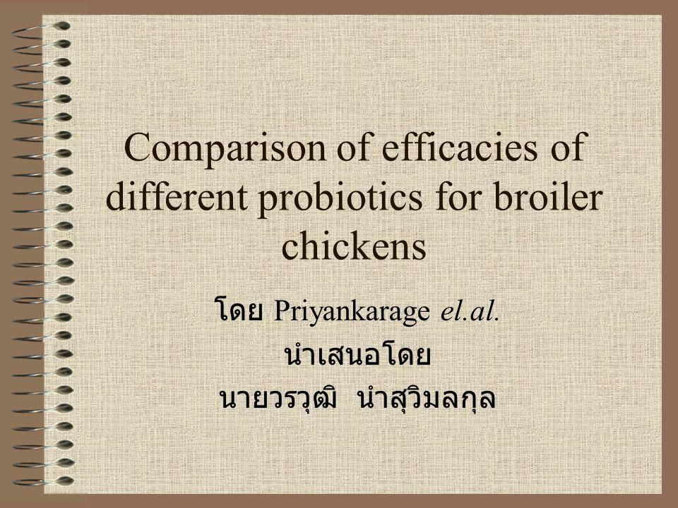Comparison of efficacies of different probiotics for broiler chickens โดย Priyankarage el.al.