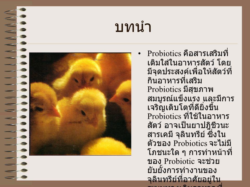 บทนำ Probiotics คือสารเสริมที่ เติมใส่ในอาหารสัตว์ โดย มีจุดประสงค์เพื่อให้สัตว์ที่ กินอาหารที่เสริม Probiotics มีสุขภาพ สมบูรณ์แข็งแรง และมีการ เจริญเติบโตที่ดียิ่งขึ้น Probiotics ที่ใช้ในอาหาร สัตว์ อาจเป็นยาปฎิชีวนะ สารเคมี จุลินทรีย์ ซึ่งใน ตัวของ Probiotics จะไม่มี โภชนะใด ๆ การทำหน้าที่ ของ Probiotic จะช่วย ยับยั้งการทำงานของ จุลินทรีย์ที่อาศัยอยู่ใน ระบบทางเดินอาหาร ที่ อาจทำให้เกิดโรค และ ยับยั้งจุลินทรีย์ที่คอยแย่ง อาหารในระบบทางเดิน อาหาร