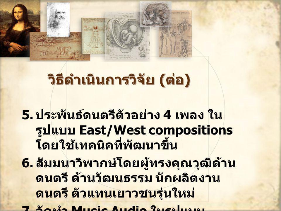 วิธีดำเนินการวิจัย ( ต่อ ) 5. ประพันธ์ดนตรีตัวอย่าง 4 เพลง ใน รูปแบบ East/West compositions โดยใช้เทคนิคที่พัฒนาขึ้น 6. สัมมนาวิพากษ์โดยผู้ทรงคุณวุฒิด