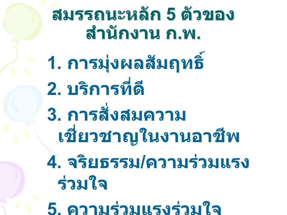 สมรรถนะหลัก 5 ตัวของ สำนักงาน ก.พ. 1. การมุ่งผลสัมฤทธิ์ 2.